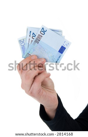 money in hand a over white background - stock photo