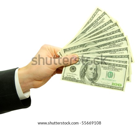 Money in hands - stock photo