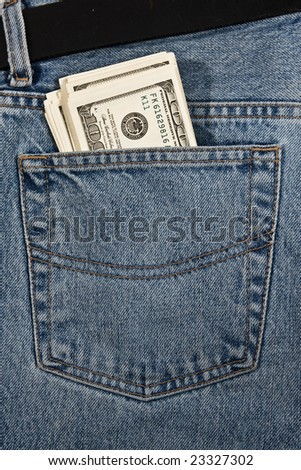 Money in  hip-pocket of jeans - stock photo