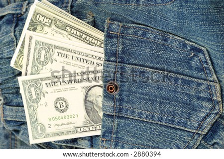 money in jean pocket - stock photo