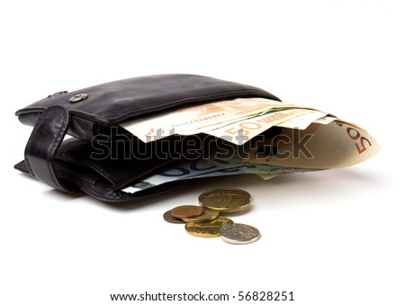Money in leather  purse isolated on white  background - stock photo