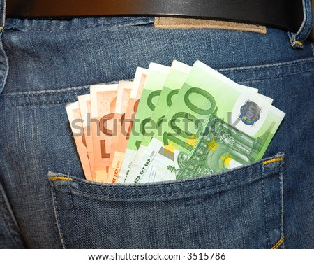 money in my pocket - stock photo