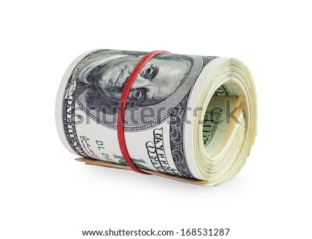 money in roll isolated on white background  - stock photo
