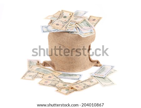 Money in the bag. Isolated on a white background. - stock photo
