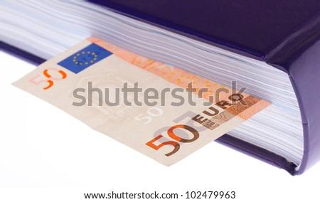 "Money ""in the book"" (50 euro bill) - stock photo"