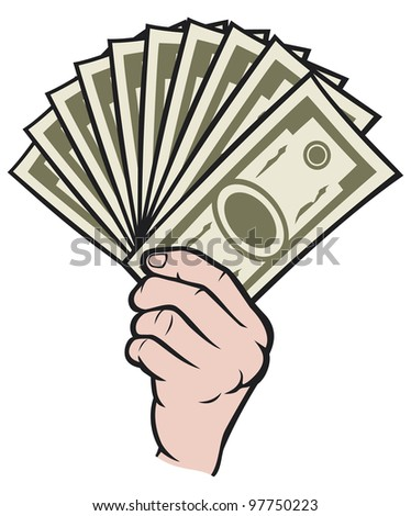 Money in the hand (Hand with money, Hand holding Banknotes ) - stock photo
