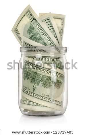 Money in the jar isolated on white background - stock photo
