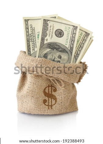 Money in the sack isolated on a white background - stock photo