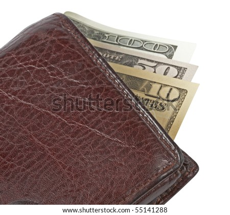 money in wallet,isolated on white with clipping path,Granite - stock photo
