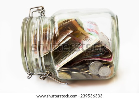 Money jar,  white background - stock photo