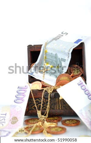 Money, jewelry and power - stock photo