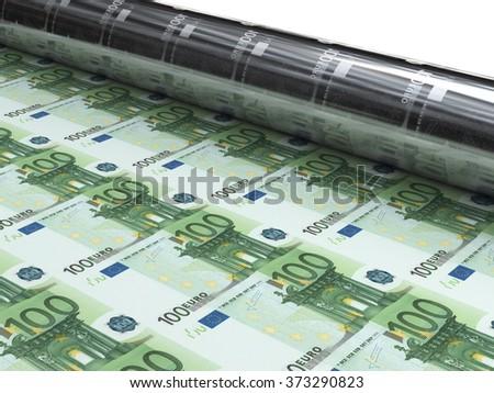 money machine to print new euro banknotes - stock photo