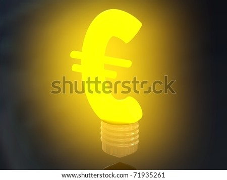 Money making idea. Light bulb with Euro symbol. - stock photo