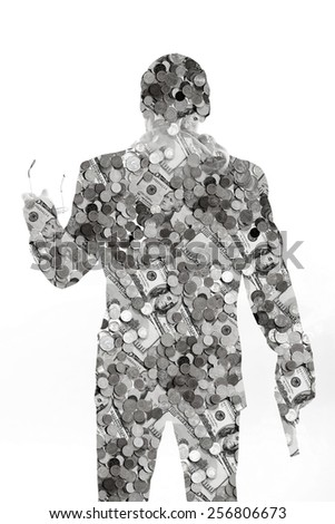money man with a gun. a lot of money a lot of power and a lot of opportunities. what man is ready for the money. philosophy and psychology. black and white. secret desires of man - stock photo