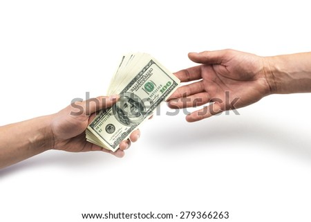 money on hand isolated on white - stock photo