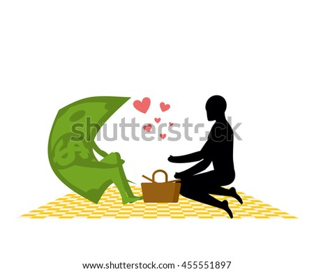 Money on picnic. Rendezvous in Park. Dollar and the people. Country lovers jaunt into cash. Meal in nature. Plaid and basket for food on lawn. Man and currency. Romantic financial illustration
