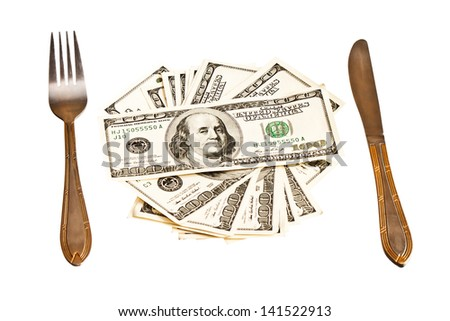 Money on the plate with fork and knife, isolated on white background  - stock photo