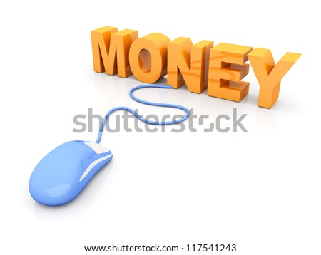 Money online. 3D rendered Illustration. Isolated on white. - stock photo