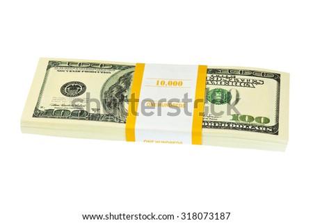 Money pack isolated on white background - stock photo