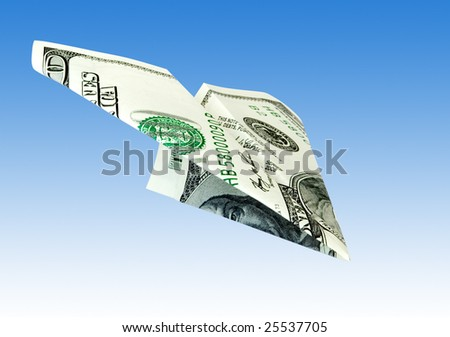 money plane from dollar usa over blue sky - stock photo
