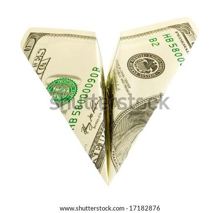 money plane isolated on white - stock photo