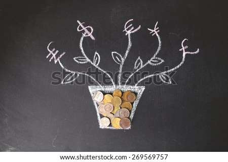 Money plant drawing with foreign currencies are on black background. Mostly are US, UK and EU currencies. This photo may use as financial background. Concept is drawing by colored chalk.  - stock photo