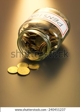 money pouring out from the pension fund - stock photo