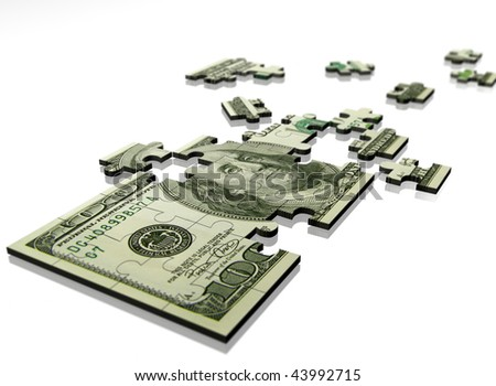 Money puzzle on a white background - stock photo