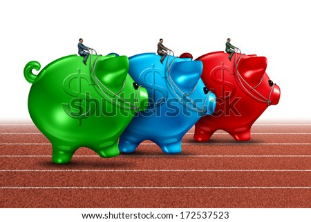 Money race business concept as a best of breed metaphor with a group of piggy banks guided by finance businessmen competing for the best financial guidance performance on a track and field path. - stock photo