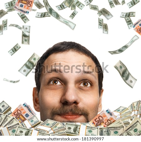 Money rain on head / head of a happy man with a mustache, surrounded by flying dollar bills - isolated on white background  - stock photo