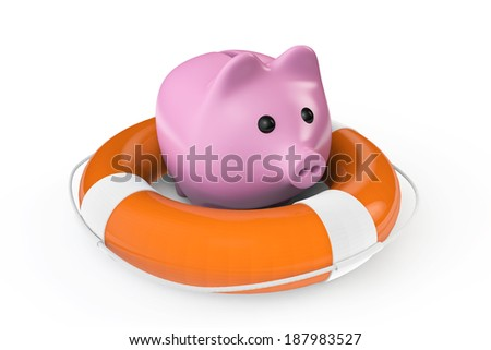 Money Save concept. Piggy bank with the lifebuoy on a white background - stock photo