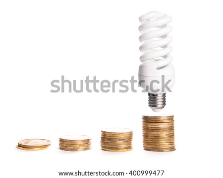 Money saved in different kinds of a light bulbs - stock photo