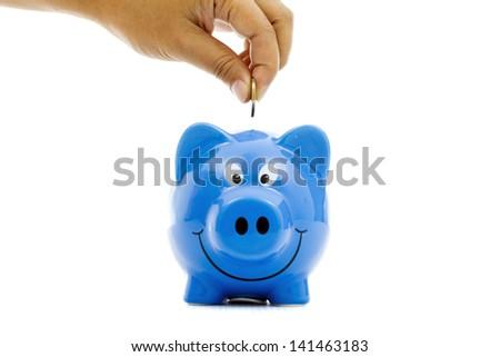 Money Saving with blue Piggy bank - stock photo