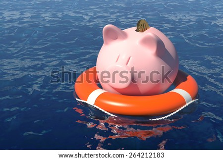 Money savings rescue concept. - stock photo