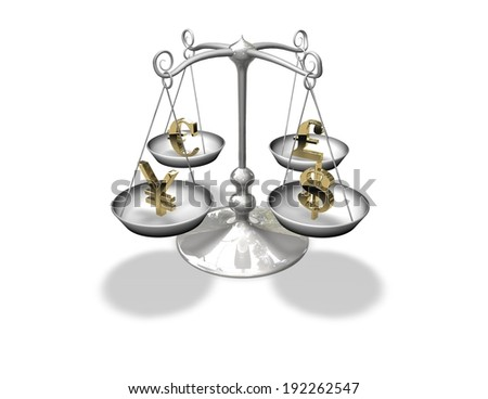 money scales, forex, currency abstract market concept with vintage balance isolated - stock photo
