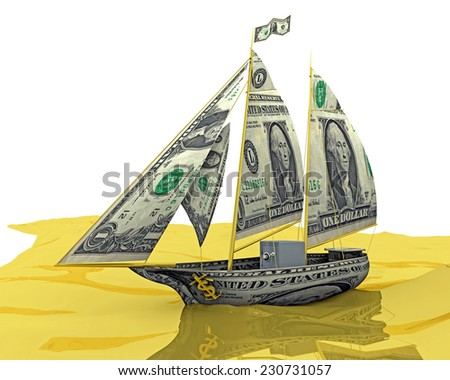 Money Ship: Your money ship has arrived! An illustration related to new found wealth. - stock photo