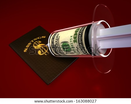 Money Shots. A specialized syringe injecting a savings portfolio with a tight roll of cash. A cure for money woes. - stock photo