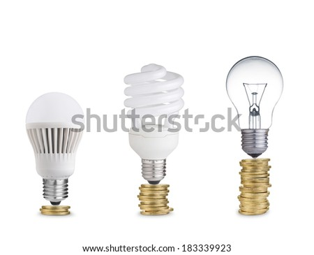 money spent in different light bulbs.Isolated on white  - stock photo