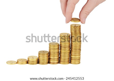 Money stack in hand  isolated on white  - stock photo