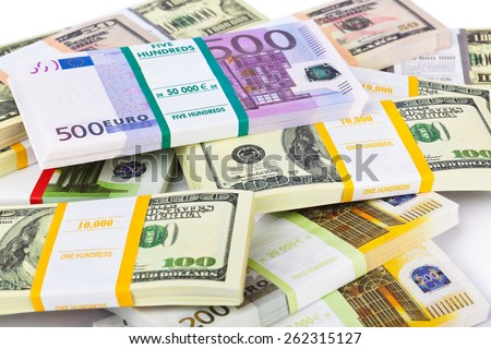 Money stacks - business background - stock photo