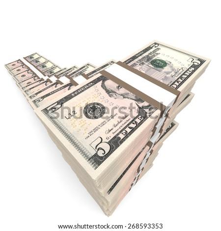 Money stacks graph. Five dollars. 3D illustration. - stock photo