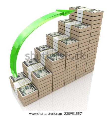 Money stacks graph. One hundred dollars  - stock photo