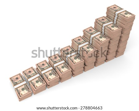 Money stacks graph. Ten dollars. 3D illustration. - stock photo