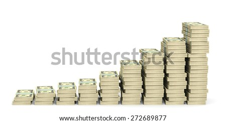 Money stacks graph. Two dollars. 3D illustration. - stock photo