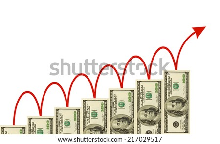 Money staircase and arrow isolated on white - business background - stock photo