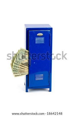 Money Sticking Out of a School, Work, or Gym Locker - stock photo