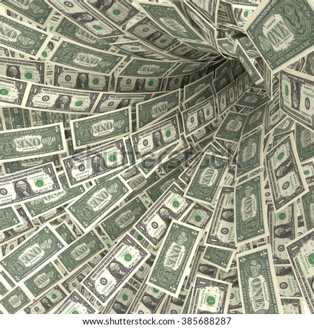 Money swirl of 1 dollar bills and financial risks - stock photo