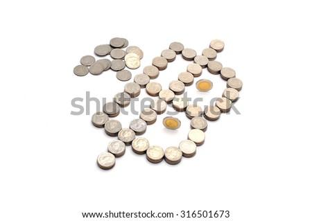 money, thai coins bath on white background - stock photo