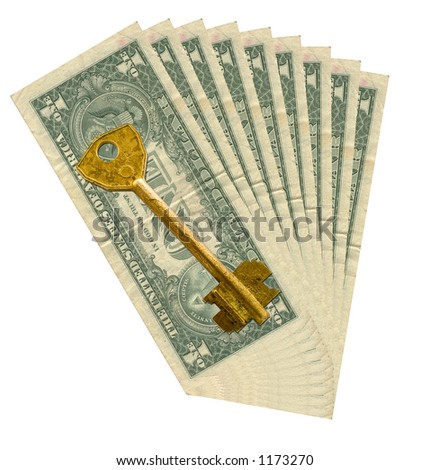 Money to a white background and an old metal key - stock photo