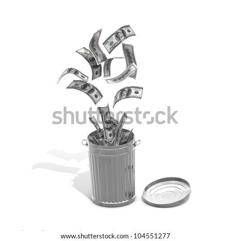 Money trash concept - computer render - stock photo